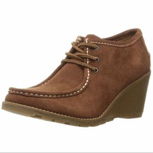 NEW Sperry Topsider Brown Suede Wedge Booties